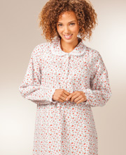 Flannel Nightgowns by Lanz - Peter Pan Collar in Winter Flowers
