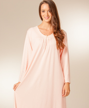 Plus La Cera Knit Long Sleeve Ballet Gown in Coral Maiden