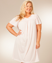 Plus Shadowline Petals Flutter Sleeves Waltz Nightgown - Petal Pink