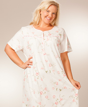 Plus 100% Cotton Knit Mid-Length Nightgown By La Cera - Short Sleeve In Pink Sonnet