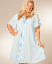 Shadowline Robes - Plus Short Beloved Flutter Sleeve Robe in Soft Blue