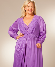 Plus Shadowline Silhouette Robe/Gown Peignoir Set - Purple