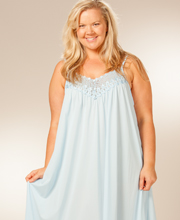 Plus Long Shadowline Beloved Soft Blue Sleeveless Nightgown