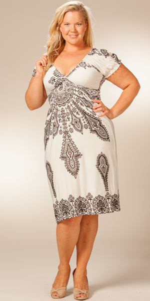 Plus Size Mid Length Dresses With Sleeves - Long Dresses Online