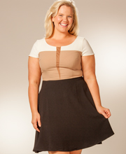 Plus Size Dresses - Black & Tan Color Blocked Cap Sleeve Dress