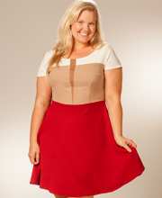 Plus Size Dresses - Color Blocked Cap Sleeve in Classic Auburn