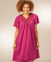 Shadowline Beloved Nightgowns - Flutter Sleeve Waltz Length - Wine