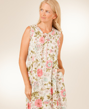 Sleeveless La Cera Nightgown in Woven Cotton - Vintage Blossom