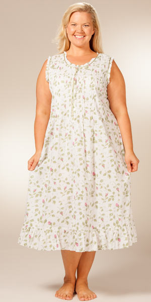 Plus Size La Cera Sleepwear 1X to 4X - Sleeveless Cotton Nightgown  - Blooming Vines