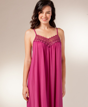 Beloved Shadowline Sleeveless Long Nightgown - Wine