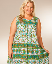 Plus Size 1X to 4X Casual Dress by La Cera - Cotton Sleeveless - Newport Green