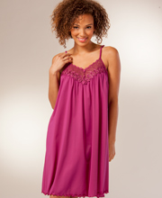 Sleeveless Short Shadowline Beloved Nightgown - Wine