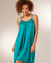 Shadowline Beloved Short Sleeveless Teal Nightgown