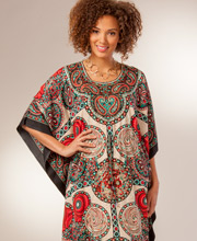 Woven Poly Kaftans - Drawstring Waist in One Size - Kaleidoscope Red