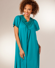 Nylon Nightgowns by Shadowline - Beloved Short Flutter Sleeve in Teal