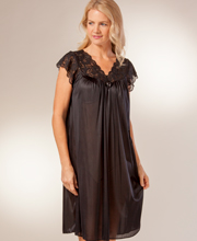 Plus Size Shadowline Silhouette Flutter Sleeves Waltz Nightgown - Black