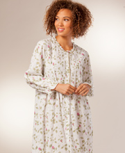 Cotton Robe La Cera Long Sleeve Cotton Robe/Button-Front Nightgown - Blooming Vines