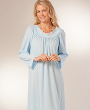 Long Sleeve Plus Shadowline Petals Long Nightgown in Soft Blue