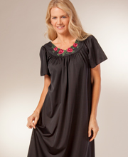 Plus Size Shadowline Petals Flutter Sleeves Long Nightgown in Black