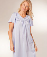 Sale - Plus Shadowline Petals Flutter Sleeves Long Nightgown - Peri