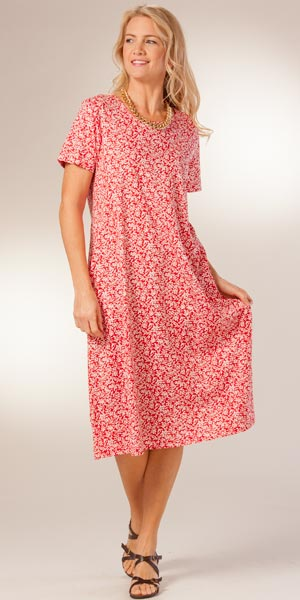 Casual Cotton Dresses - Short Sleeve La Cera A Line Dresses in Red