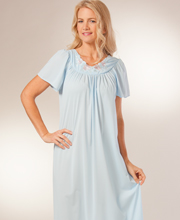 Petals Plus Size Flutter Sleeves Long Gown by Shadowline - Soft Blue