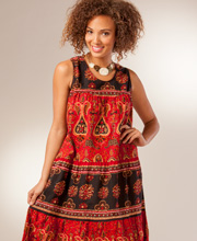 La Cera Dress - Soft & Easy Cotton Sleeveless in Rustic Burgundy Print