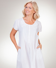 Soft & Easy Cotton Gown - La Cera Lace-Trim White Short Sleeve Gown