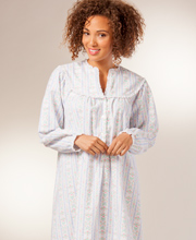 Lanz Flannel Nightgown V-Neck Classic Tyrolean - Mid-length in Blue