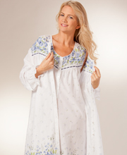 Special - Plus La Cera Cotton Lawn Robe and Gown Set - Wildflower Bleu