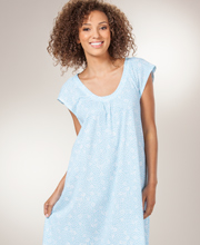 Carole Hochman Long Cotton Knit Flutter Sleeve Nightgown - Blue Breeze