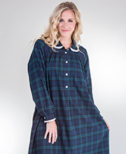 Lanz Gown Peter Pan Collar Cotton Flannel in Black Watch Plaid