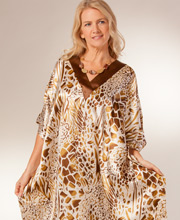 Lounger Caftans in Satin Charmeuse - One Size in Golden Dreams
