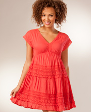Woven Crinkle Dress - Cotton Cap Sleeve Dress in Tucson Sunset