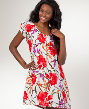 Peppermint Bay Rayon Knee Length Short Sleeve Dress - Tropical Punch