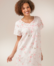 100% Cotton Knit Mid-Length Nightgown By La Cera - Short Sleeve In Pink Sonnet