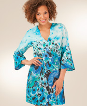 Peppermint Bay Woven Cotton Beach Coverup Tunic -  Impressionist Blues