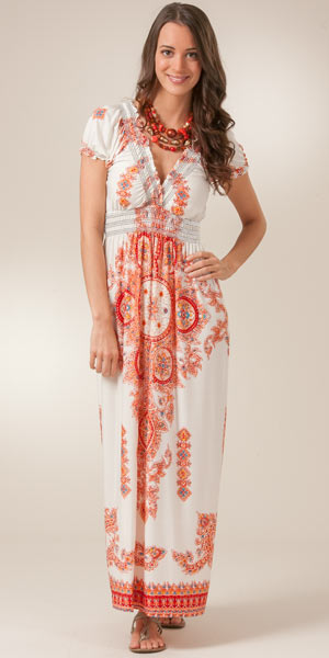 Plus Jessica Taylor Short Sleeve Poly Knit Maxi Dress - Venus