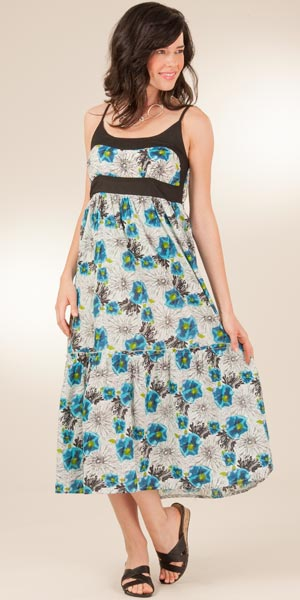 Sale - Claudia Richards Cotton Floral Long Adjustable Strap Dress ...