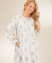 La Cera Long Sleeve Cotton Robe/Button-Front Nightgown - Texas Rose
