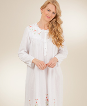 Long Sleeved Ballet La Cera White Cotton Gown - Red Rose Embroidered