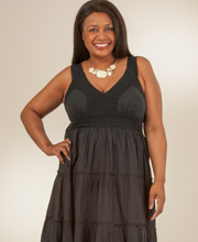 Plus Size Cotton Tiered Sundress by Claudia Richards - Onyx