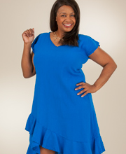 Plus Size Dunes V-Neck Cap Sleeve Waltz Length Dress - Royal Blue