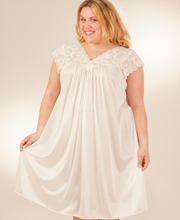 Shadowline Silhouette Flutter Sleeves Short Plus Size Gown in Ivory