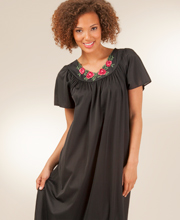 Shadowline Long Nightgown - Flutter Sleeves Petals Night Gown in Black