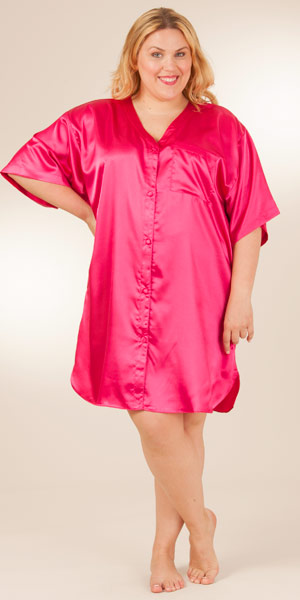 Plus Satin Charmeuse Sleepwear - Boyfriend Sleepshirt in Fuchsia