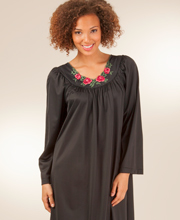 Long Sleeve Shadowline Petals Long Nightgown in Black