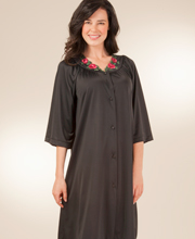 Shadowline 3/4-Sleeve Petals Waltz Robe - Black