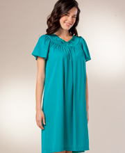 Flutter Sleeve Petals Waltz Nightgown by Shadowline - Teal