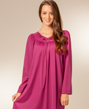 Long Shadowline Petals Nightgown - Long Sleeves in Wine
